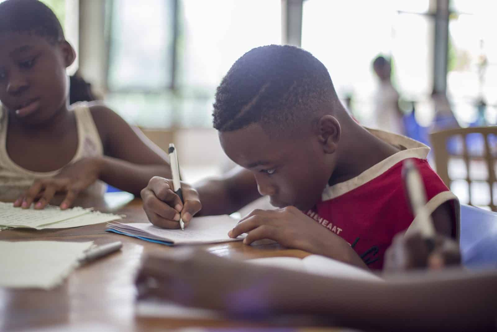 A child studying in a classroom