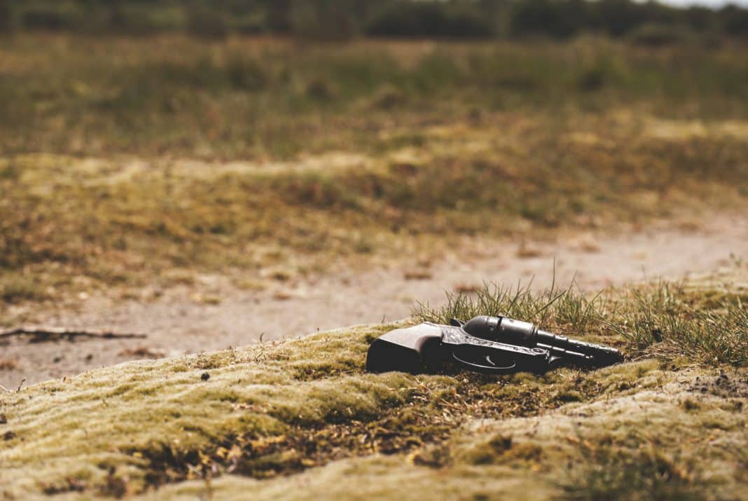 A pistol, laying on the grass